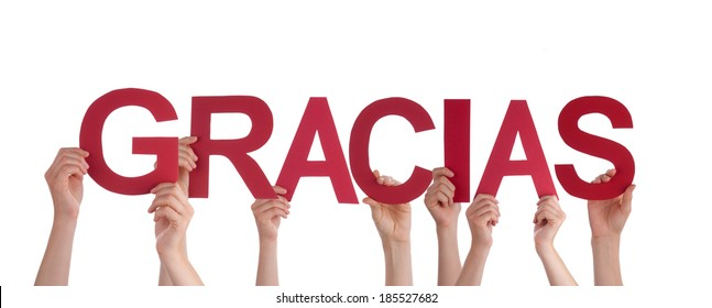 Many People Holding the Spanish Word Gracias, which means Thanks, Isolated