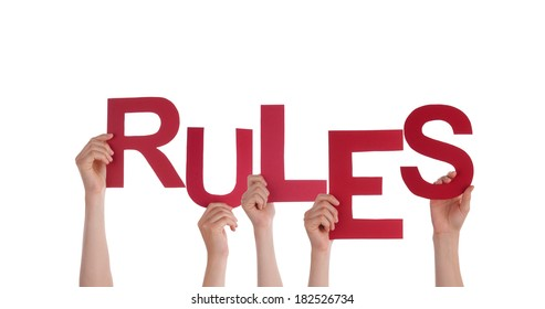Many People Holding the Word Rules, Isolated