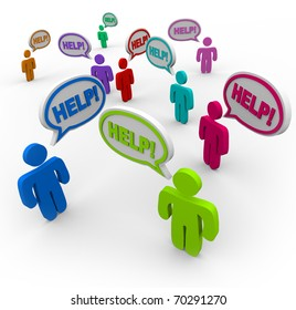 Many people talking at the same time, asking for help with words in speech bubbles