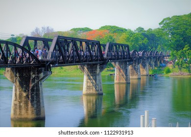 Many people walk on the rail at Historical River Kwai bridge in Kanchanaburi Thailand. Apr 23 ,2018