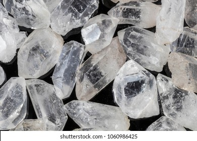Many pieces of beautiful clear quartz crystal