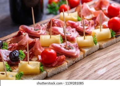 Many pintxo or, tapas, spanish canapes party finger food