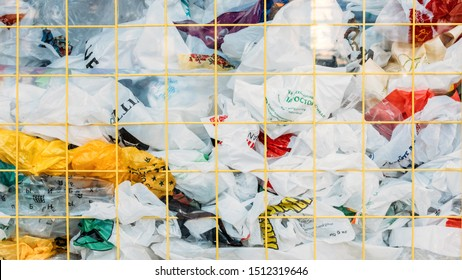 Many Plastic bags street installation in Vsi Svoi store, Keiv. Pollution problem concept, say no to plastic bag. Ecological problem, Zero waste, No plastic concept. Kiev, Ukraine - September 02, 2019.
