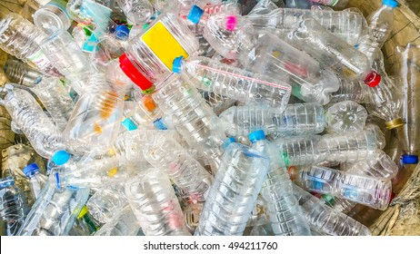 Many plastic bottle , Garbage cans . Sorting garbage. Ecology and recycle concept. Trash , Bin , Rubbish , Plastic Bags pile