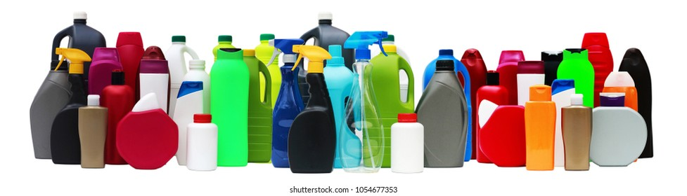 Many plastic containers of different shapes and colors isolated on white background
