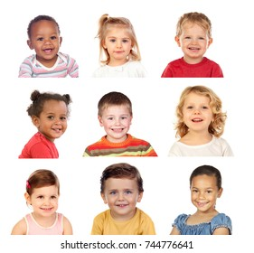 Many portraits of different children isolated on a white background