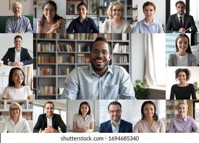 De nombreux portraits sont des visages de différentes webcams de jeunes et de personnes âgées, tout en participant à une visioconférence en ligne dirigée par un chef d'entreprise africain. Concept simple d'utilisation de l'application d'appel vidéo de groupe