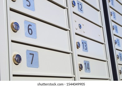 many postage lockers mailbox array shipping messages