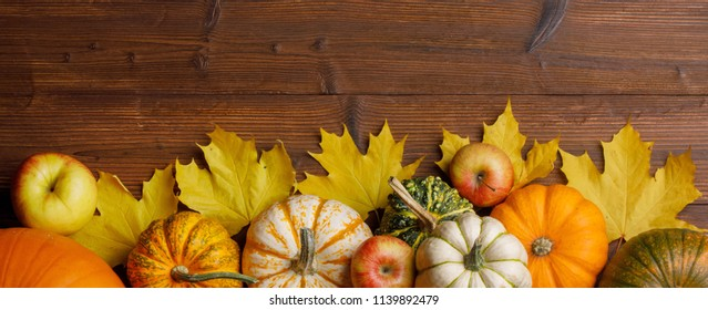 Many pumpkins and maple leaves on dark wooden background, Halloween concept