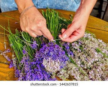 Many Purple levander flower on old wooden table. Beautiful lavender flower from my flower garden