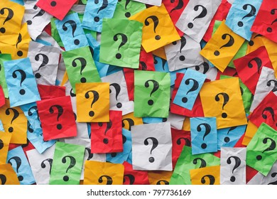 Too Many Questions. Colourful question marks background. Close up.