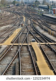 Many railway tracks at a busy junction