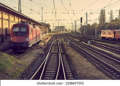 Many railway tracks at a station, toned image