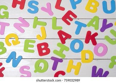 Many random coloured letters