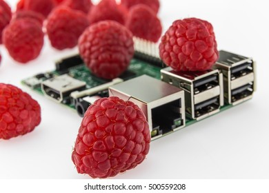 many raspberries and circuit board with rj45, hdmi and usb connectors