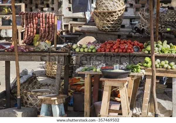 Many raw food in a market in Madagascar, Africa.