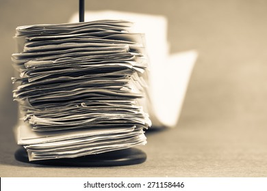 Many receipts in paper nail