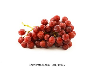 Many red grapes with the branch.