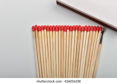 Many red head matches and one burned put straight in line near a opened box on white background