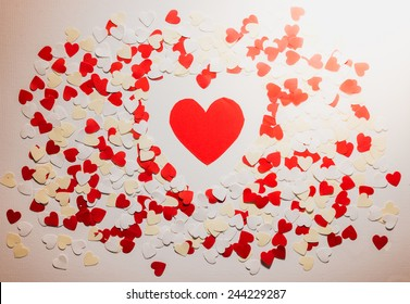 many red and white heart on white background. background in the style of Valentine's Day