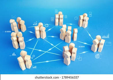 Many related teams in the company do the work in cooperation. Coordination and knowledge sharing. Business model of autonomous groups without middle managers. Self-organization structure innovation