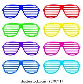 many retro colorful shades sunglasses isolated on white background