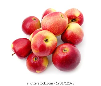 Many ripe red apples isolated on a white background.