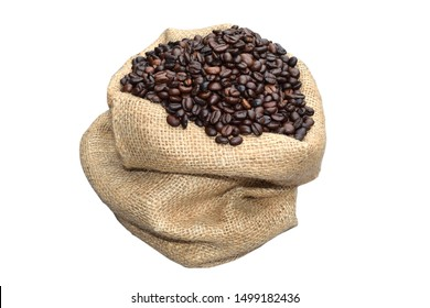 many roasted coffee beans in a hemp bag on the white blackground,isolate