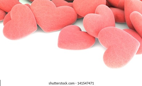 many rough red hearts on white background