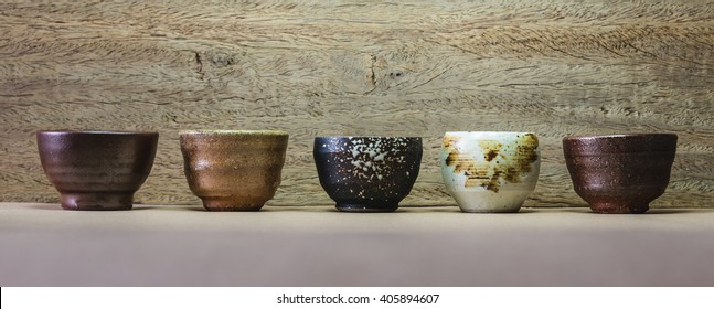 many sake cup  background.