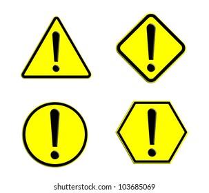 Many shape of warning caution yellow plate