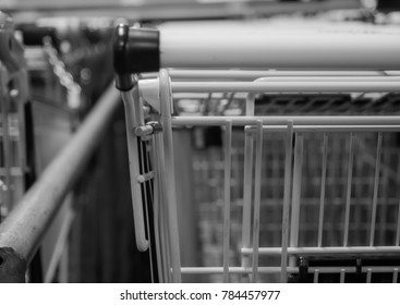 Many shopping carts of a supermarket