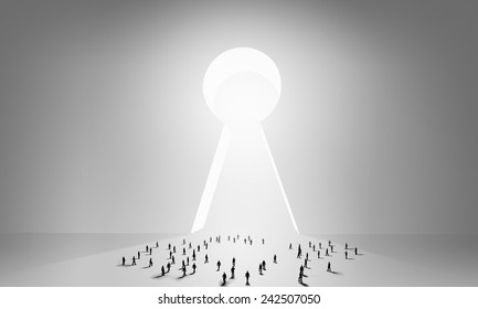 Many silhouettes of people and keyhole doorway & Back View Businessman Standing Keyhole Doorway Stock Photo (Royalty ...