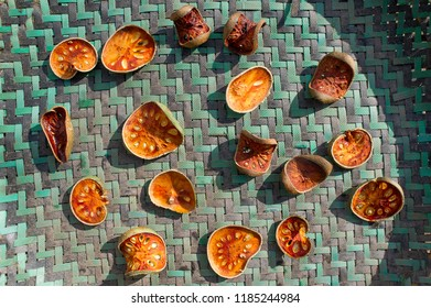 many of slices of bael fruit for make bael juice, pile of dried bael background