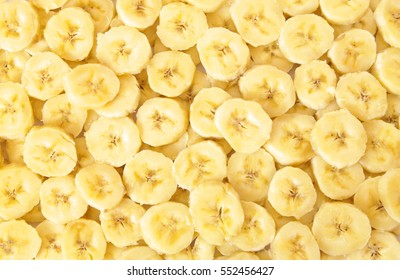 Many slices of banana fruit close up