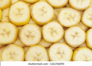 Many slices of banana fruits