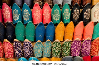 Many slippers colorful for sale in the souk of Marrakech, Morocco