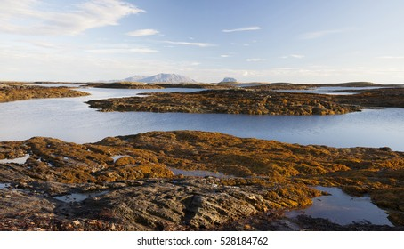 Many small islands at low tide in Vega Archipelago, Norway.