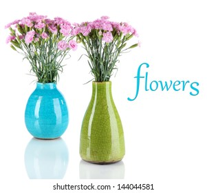 Many small pink cloves in vases isolated on white