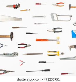 many small tools arranged on white background