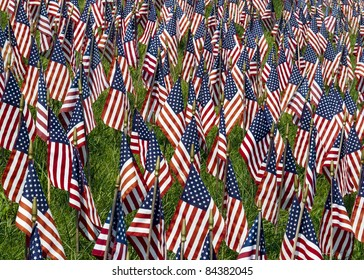 Many small US Flags in a field honoring the fallen of Iraq and Afghanistan.