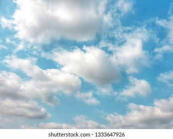 Many soft clouds and blue sky background.meteorology