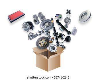 Many spare parts flying out of the box white background. Isolated auto spare parts on white background. Auto spare parts for passenger car, OEM. Isolated absorber, gasket, filters, parts for chassis.