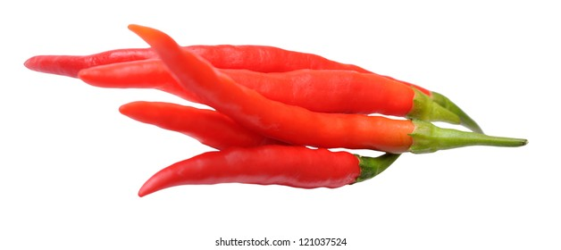 many spicy peppers isolated on white