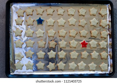 Many Star shaped Cookies for conceptual image of celebrating July 4th.