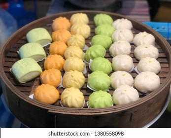 Many steamed buns for sale at street food in Thailand