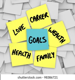 Many sticky notes with your personal Goals written on them including love, family, career, wealth and health -- the elemetns of a successful, fulfilling life