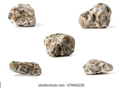 Many stones isolated on white background