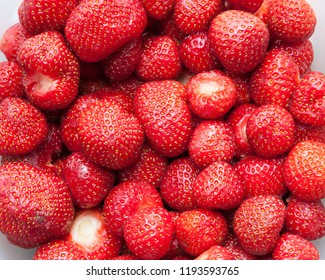 Many strawberries close-up background