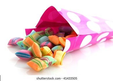 Many sweet and colorful candy as background